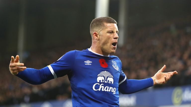 LIVERPOOL, ENGLAND - OCTOBER 30: Ross Barkley of Everton celebrates scoring his sides second goal during the Premier League match between Everton and West