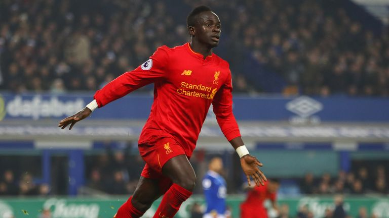 Sadio Mane celebrates his winner for Liverpool at Everton in the Premier League