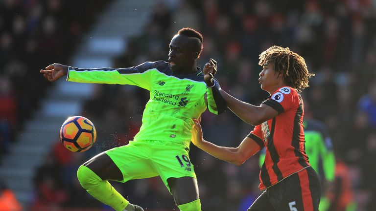 Sadio Mane, Nathan Ake, Bournemouth v Liverpool, Premier League