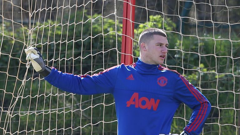 MANCHESTER, ENGLAND - APRIL 08:  (EXCLUSIVE COVERAGE) Sam Johnstone of Manchester United during a first team training session