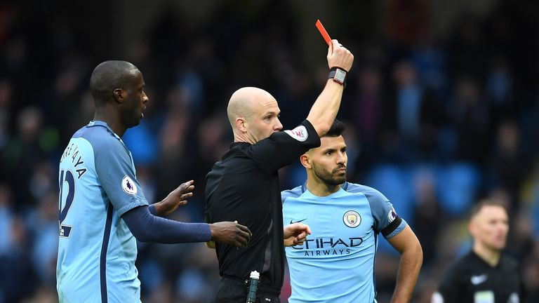 Sergio Aguero is dismissed by Anthony Taylor