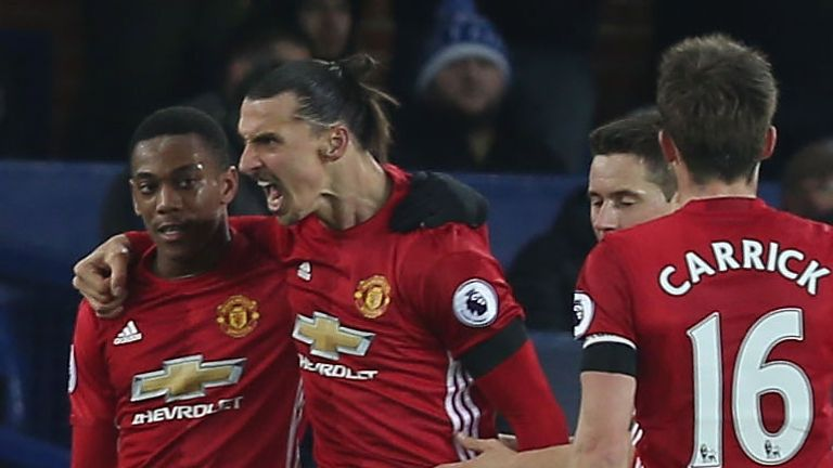 during the Premier League match between Everton and Manchester United at Goodison Park on December 4, 2016 in Liverpool, England.