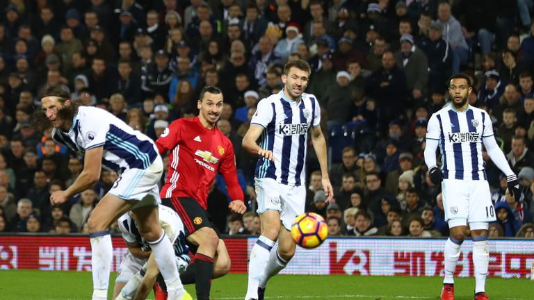 WEST BROMWICH, ENGLAND - DECEMBER 17:  Zlatan Ibrahimovic of Manchester United (C) scores his sides second goal during the Premier League match between Wes