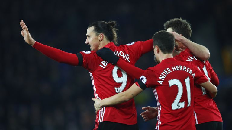 Zlatan Ibrahimovic of Manchester United (9) celebrates with team mates as he scores their first goal against Everton