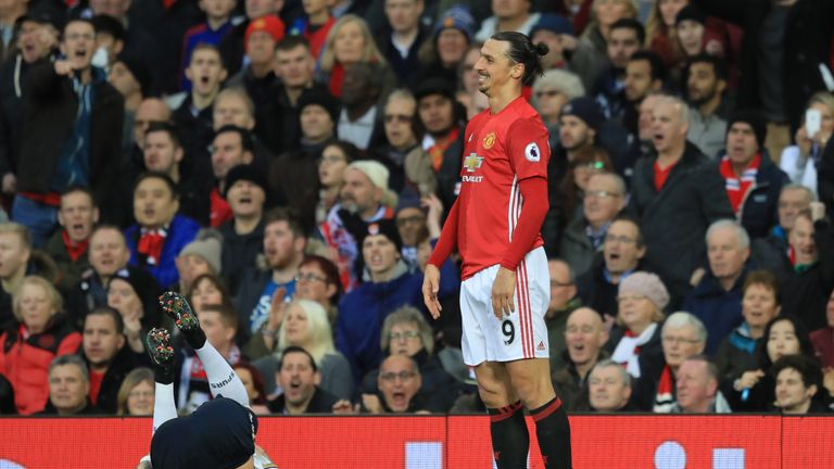Zlatan Ibrahimovic of Manchester United reacts following a challenge on Kyle Walker