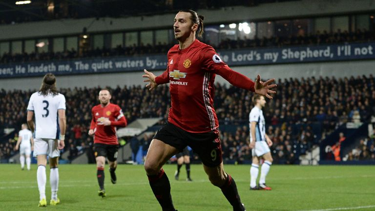 Manchester United's Swedish striker Zlatan Ibrahimovic celebrates after scoring the opening goal of the English Premier League football match between West