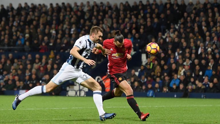 Zlatan Ibrahimovic heads Man United into the lead against West Brom