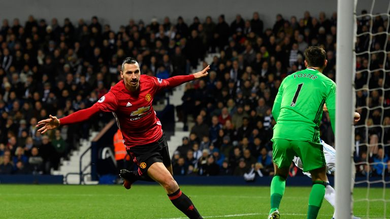 WEST BROMWICH, ENGLAND - DECEMBER 17:  Zlatan Ibrahimovic of Manchester United celebrates scoring his sides first goal during the Premier League match