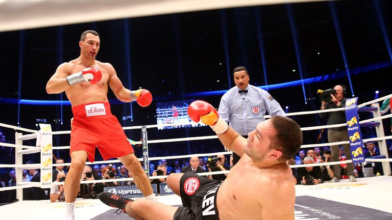 There he goes! Kubrat Pulev hit the deck in Hamburg