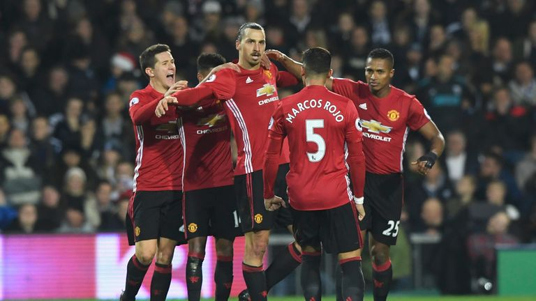Zlatan Ibrahimovic of Manchester United (C) celebrates scoring his side's second goal v West Brom, Premier League
