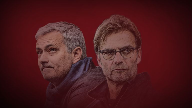 Jose Mourinho and Jurgen Klopp will face off when Manchester United take on Liverpool