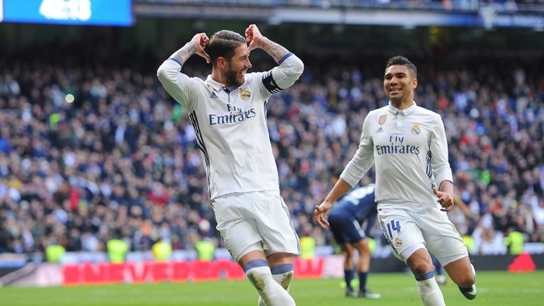 Sergio Ramos celebrates scoring his 50th La Liga goal and Real Madrid's second of the match