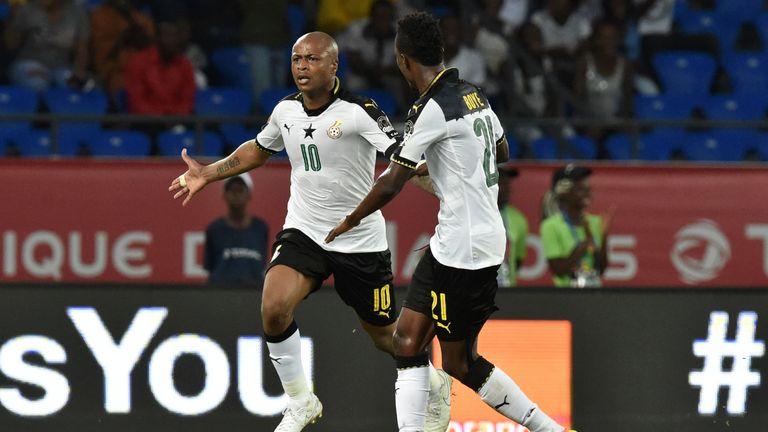 Andre Ayew celebrates Ghana's winner