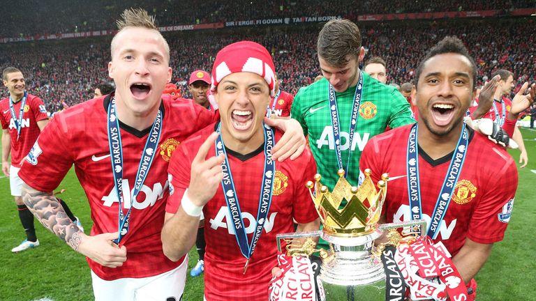 Javier Hernandez, Anderson and Alexander Buttner celebrate winning the Premier League
