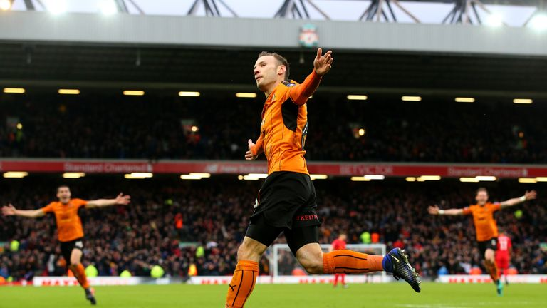 Andreas Weimann celebrates in front of the Kop after putting Wolves 2-0 up against Liverpool