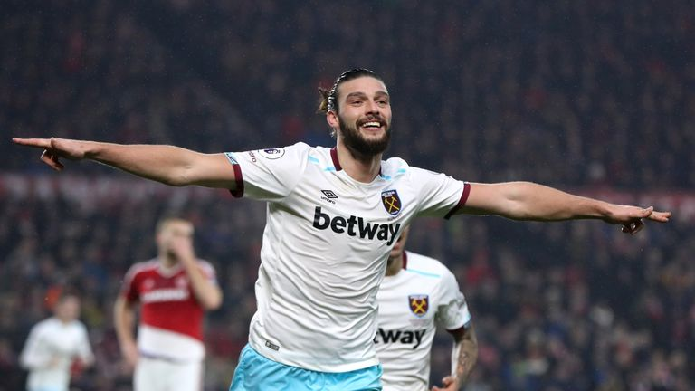 MIDDLESBROUGH, ENGLAND - JANUARY 21: Andy Carroll of West Ham United celebrates scoring his sides second goal during the Premier League match between Middl