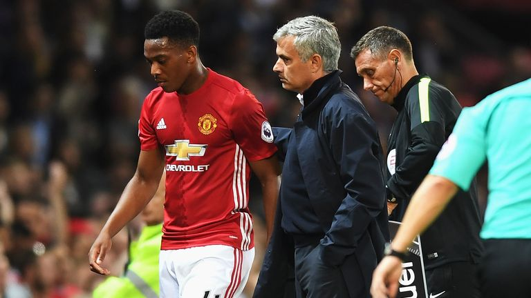 MANCHESTER, ENGLAND - AUGUST 19:  Anthony Martial of Manchester United is substituted by Jose Mourinho, Manager of Manchester United during the Premier Lea