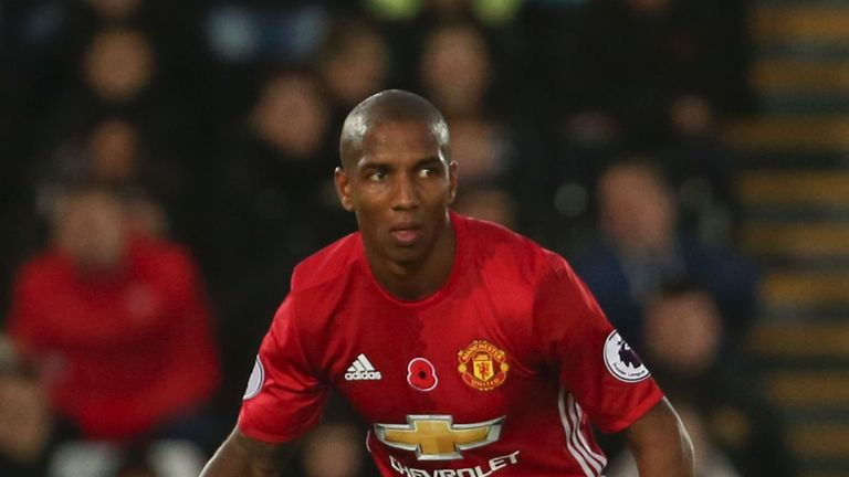 Manchester United's Ashley Young in action against Swansea