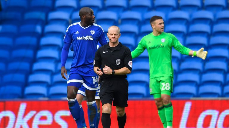 Souleymane Bamba of Cardiff City complains to the referee after Fulham score their second goal