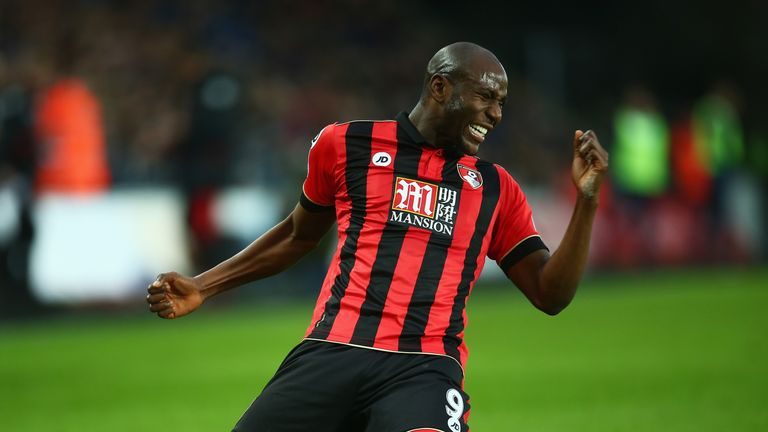 SWANSEA, WALES - DECEMBER 31:  Benik Afobe of AFC Bournemouth celebrates scoring the opening goal during the Premier League match between Swansea City and