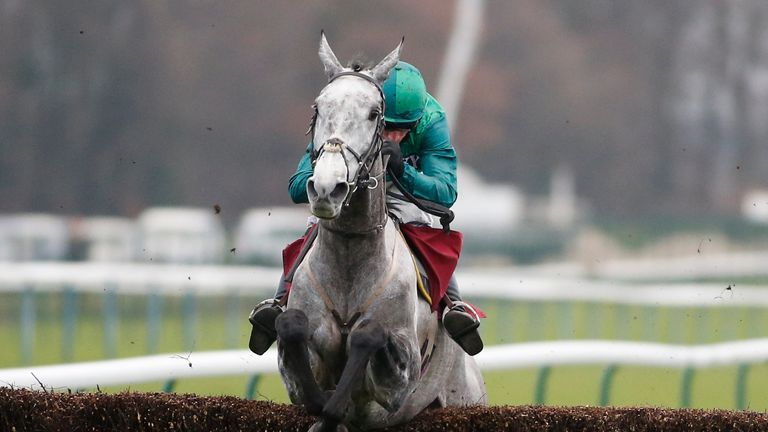 Daryl Jacob and Bristol De Mai clear the last fence on their way to a comfortable success in the Peter Marsh Chase at Haydock,