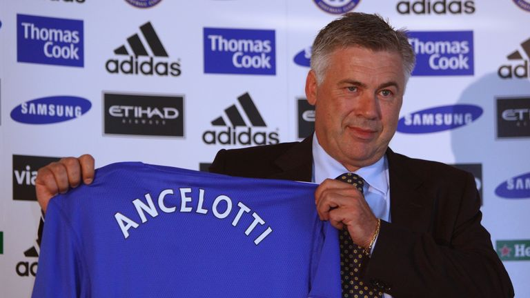 LONDON, ENGLAND - JULY 06:  New Chelsea manager Carlo Ancelotti faces the media during a press conference at Stamford Bridge on July 6, 2009 in London, Eng