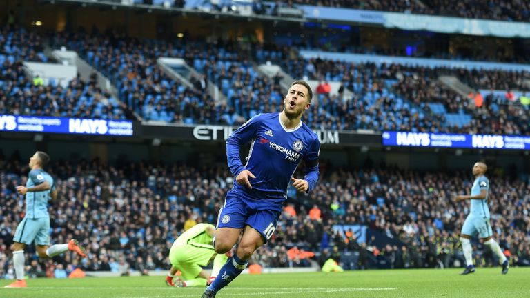 Chelsea's Belgian midfielder Eden Hazard celebrates scoring his team's third goal during the English Premier League football match between Manchester City