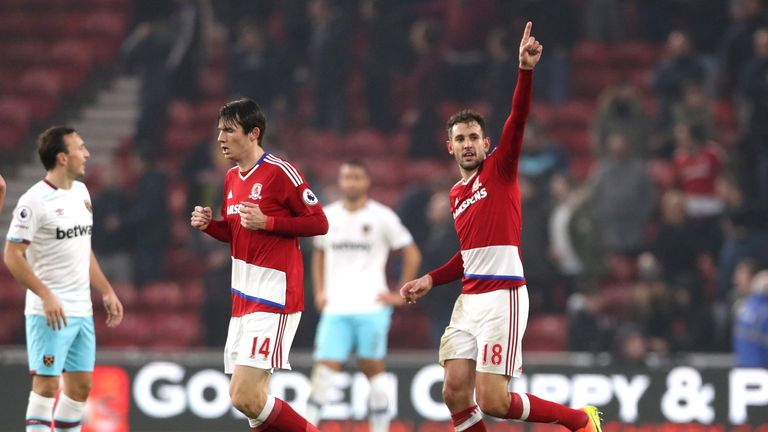 MIDDLESBROUGH, ENGLAND - JANUARY 21:  Cristhian Stuani of Middlesbrough (CR) celebrates scoring his sides first goal during the Premier League match betwee