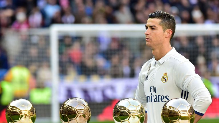 Cristiano Ronaldo pictured with his four Ballon d'Or awards