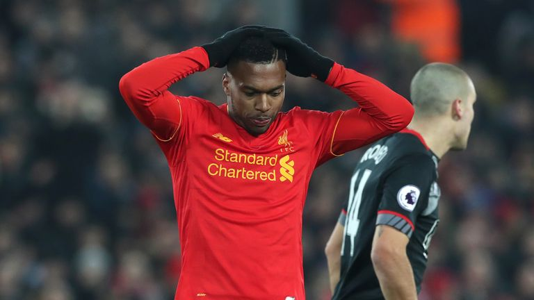 Liverpool's Daniel Sturridge rues a missed chance during the EFL Cup Semi Final, Second Leg match v Southampton at Anfield, Liverpool