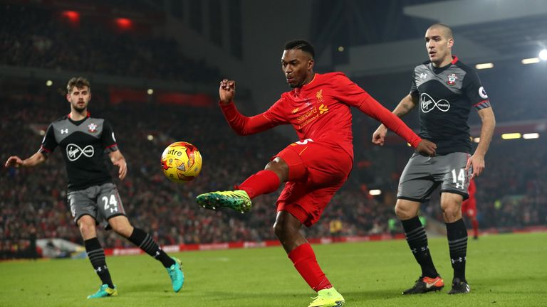 LIVERPOOL, ENGLAND - JANUARY 25:  Daniel Sturridge of Liverpool in action during the EFL Cup Semi-Final Second Leg match between Liverpool and Southampton