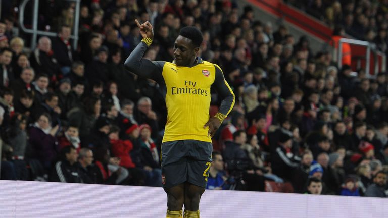 Danny Welbeck celebrates a stunning return for the Gunners