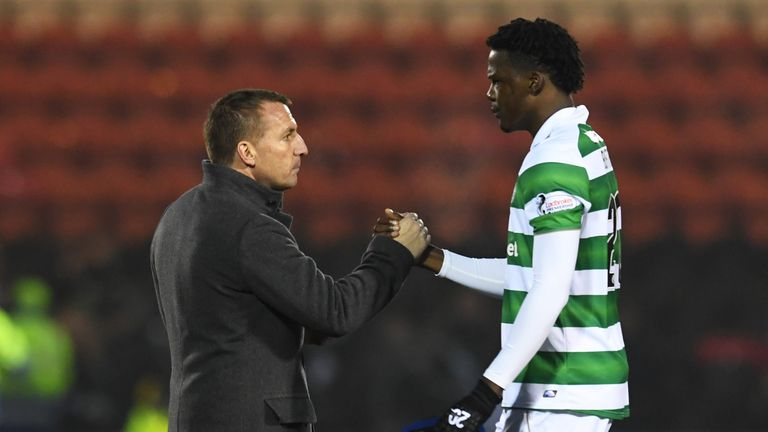 22/01/17 WILLIAM HILL SCOTTISH CUP FOURTH ROUND     ALBION ROVERS v CELTIC    EXCELSIOR STADIUM - AIRDRIE    Celtic manager Brendan Rodgers (L) and Dedryck