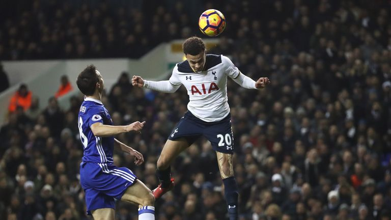 LONDON, ENGLAND - JANUARY 04:  Dele Alli of Tottenham Hotspur scores his sides first goal with a header during the Premier League match between Tottenham H