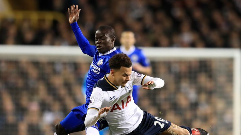 Tottenham Hotspur's Dele Alli is challenged by Chelsea's N'Golo Kante