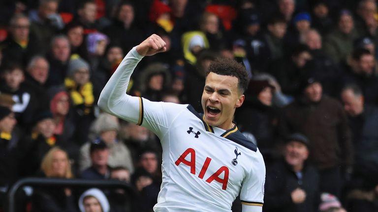 Dele Alli celebrates after scoring Tottenham's third goal