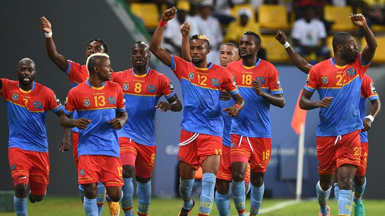 Democratic Republic of the Congo's players celebrate a goal during the 2017 Africa Cup of Nations group C football match between Togo and DR Congo in Port-