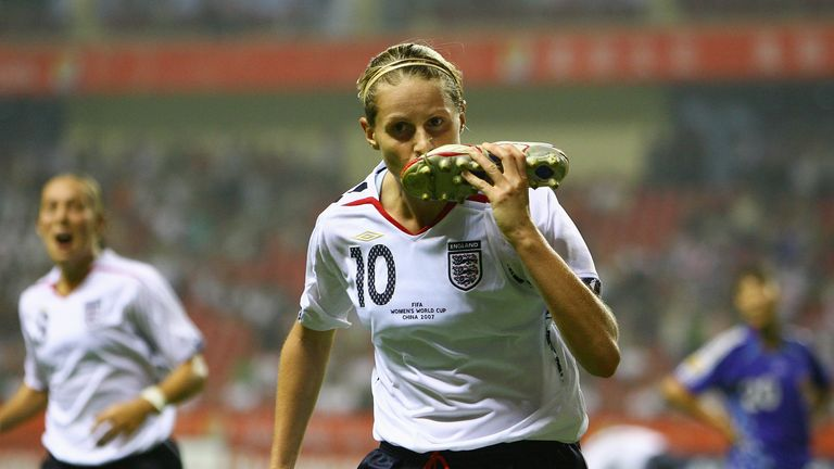 Kelly Smith celebrates scoring the first goal for England during the FIFA Women's World Cup 2007 Group A match