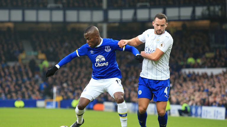 Everton's Enner Valencia (L) battles with Danny Drinkwater