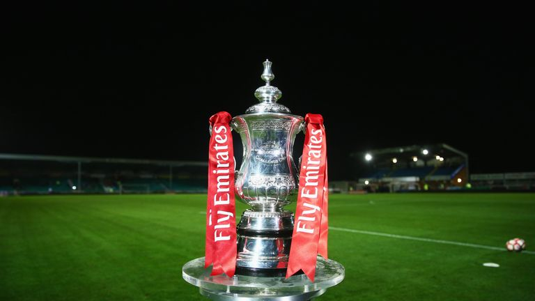 EASTLEIGH, UNITED KINGDOM - NOVEMBER 04:  The FA Cup trophy on display prior to The Emirates FA Cup first round match between Eastleigh FC and Swindon Town