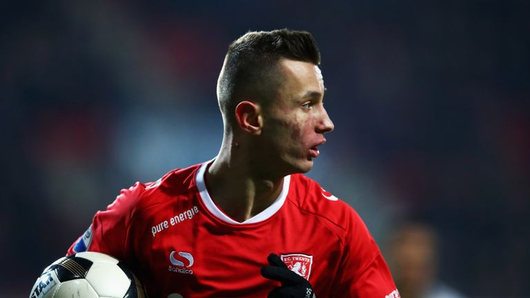 ENSCHEDE, NETHERLANDS - JANUARY 20:  Bersant Celina of FC Twente in action during the Dutch Eredivisie match between FC Twente and Heracles Almelo held at