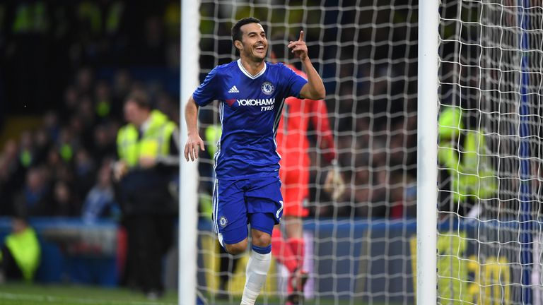 LONDON, ENGLAND - JANUARY 08:  Pedro of Chelsea celebrates scoring his sides first goal during The Emirates FA Cup Third Round match between Chelsea and Pe
