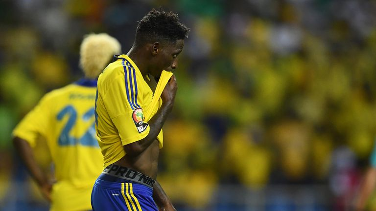 Gabon's defender Andre Biyogo Poko reacts during the 2017 Africa Cup of Nations group A football match between Cameroon and Gabon at the Stade de l'Amitie