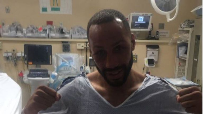 DeGale visited a Brooklyn hospital after his fight (Twitter @EddieHearn)