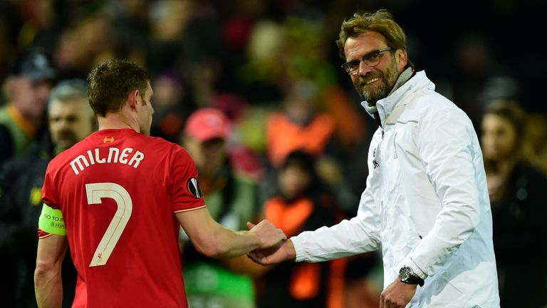 James Milner is one of three Liverpool players still at the club who started in Jurgen Klopp's first game