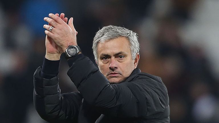 Jose Mourinho applauds the fans after the 2-0 win over West Ham - one of seven wins since Red Monday