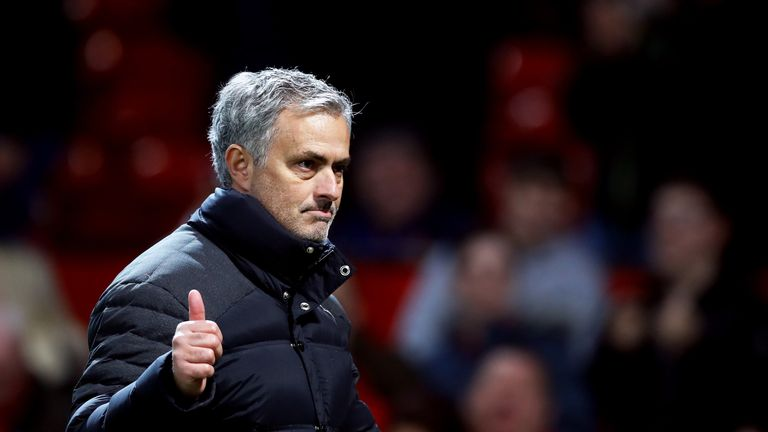 Manchester United manager Jose Mourinho gives the thumbs up after the EFL Cup Semi Final, First Leg