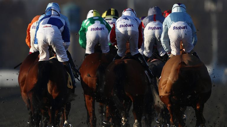 Runners and riders race at Kempton Park on January 17