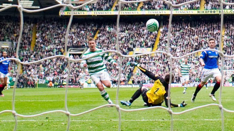 Kris Commons scores in a landmark game for Celtic against Rangers