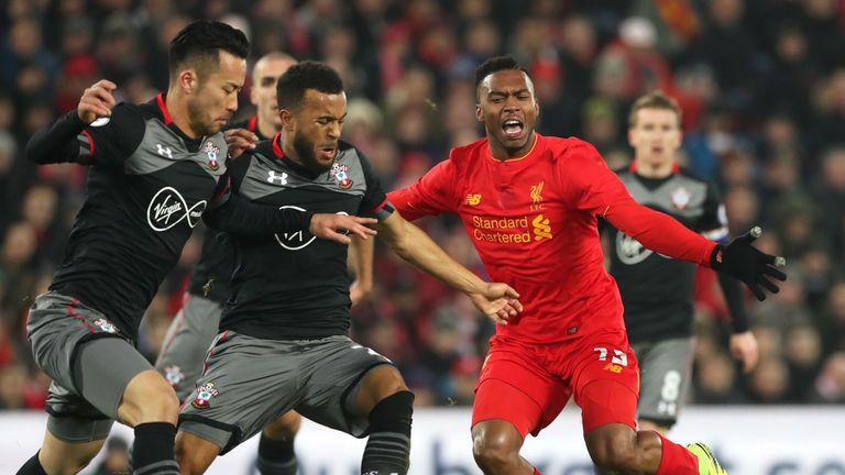 Liverpool's Daniel Sturridge (right) in action with Southampton's Ryan Bertrand (centre) and Maya Yoshida